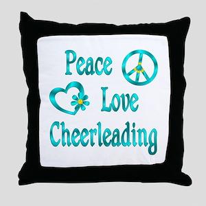 Peace Love Cheerleading Throw Pillow