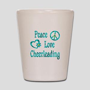 Peace Love Cheerleading Shot Glass