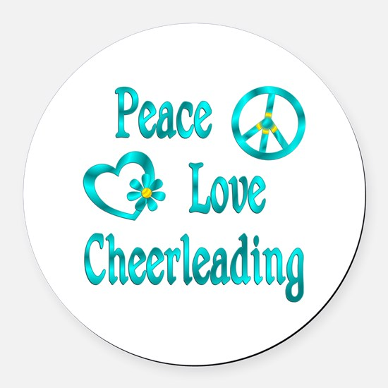 Peace Love Cheerleading Round Car Magnet