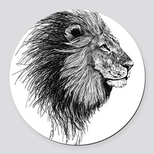 Lion (Black and White) Round Car Magnet