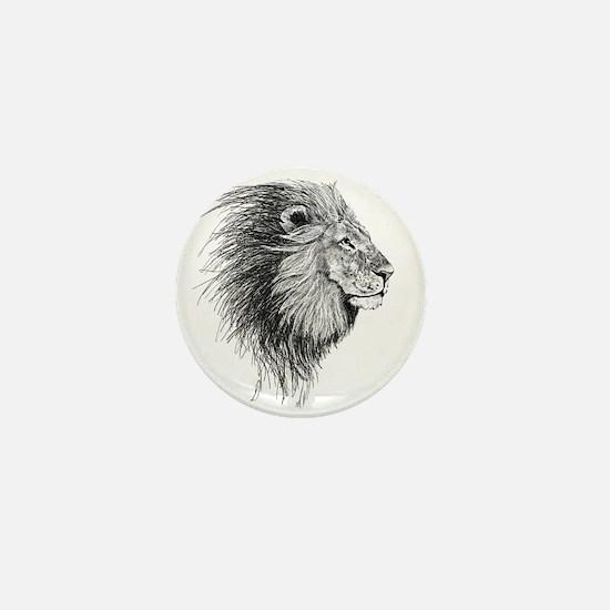 Lion (Black and White) Mini Button