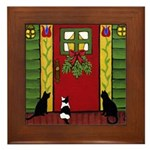CATS Wait By The Door Framed ART Tile