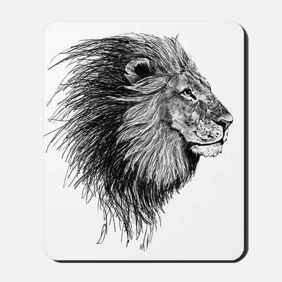 Lion (Black and White) Mousepad