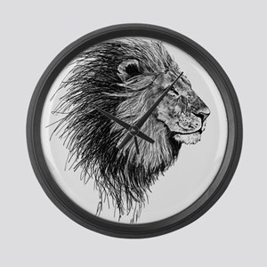 Lion (Black and White) Large Wall Clock