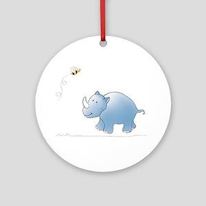 Rhino and Bee Ornament (Round)