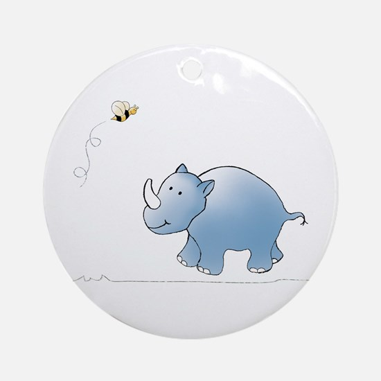 Rhino and Bee Ornament (Round)