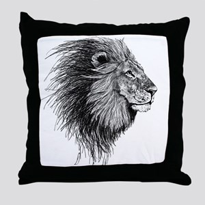 Lion (Black and White) Throw Pillow