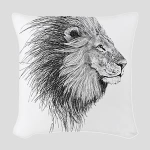 Lion (Black and White) Woven Throw Pillow