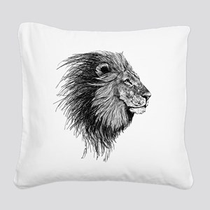 Lion (Black and White) Square Canvas Pillow