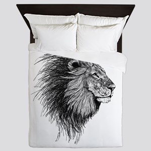 Lion (Black and White) Queen Duvet