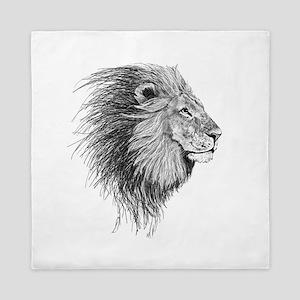 Lion (Black and White) Queen Duvet