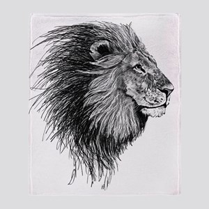 Lion (Black and White) Throw Blanket