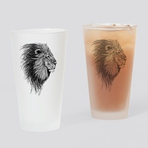 Lion (Black and White) Drinking Glass