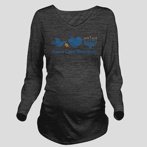 Peace Love Hanukkah Long Sleeve Maternity T-Shirt