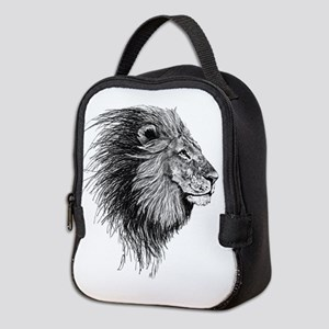 Lion (Black and White) Neoprene Lunch Bag