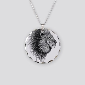 Lion (Black and White) Necklace Circle Charm