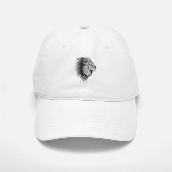 Lion (Black and White) Baseball Baseball Cap