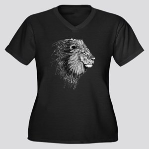 Lion (Black and White) Plus Size T-Shirt