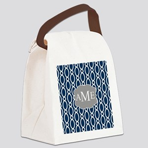 Vine Pattern Monogram Blue Gray Canvas Lunch Bag