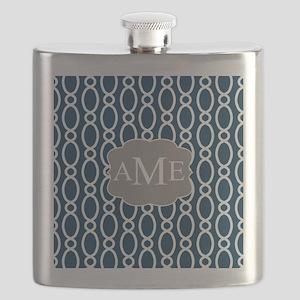 Vine Pattern Monogram Blue Gray Flask