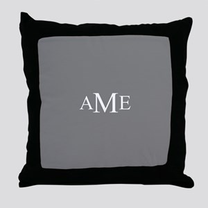 Solid Gray with Monograms Throw Pillow