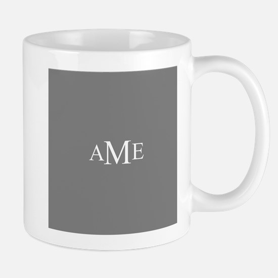 Solid Gray with Monograms Mugs