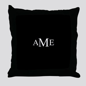 Solid Black with Monograms Throw Pillow