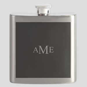 Solid Black with Monograms Flask