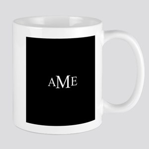 Solid Black with Monograms Mugs