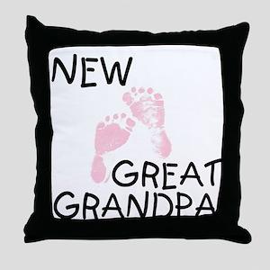 New Great Grandpa (pink) Throw Pillow