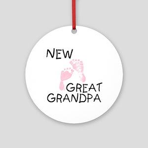 New Great Grandpa (pink) Ornament (Round)