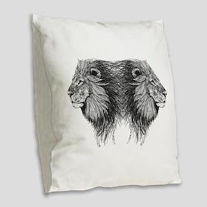 Twin Lion Burlap Throw Pillow