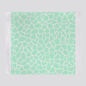 Mint Green Giraffe Print Pattern Throw Blanket