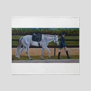 Grey Dressage Pony Throw Blanket