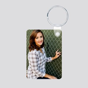 Woman Smiling Aluminum Photo Keychain