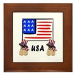 Patriotic USA Pug Dogs Framed Tile