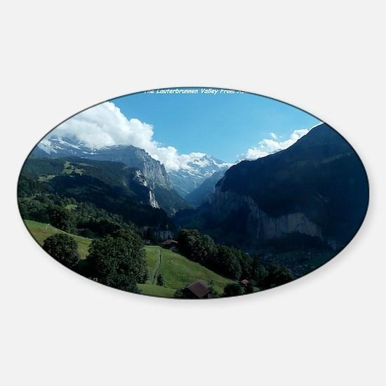 Lauterbrunnen Valley from Wengen, S Sticker (Oval)