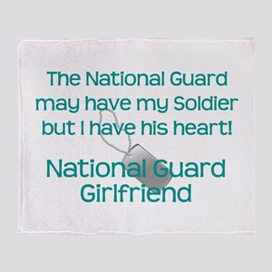 National Guard Girlfriend Heart Throw Blanket