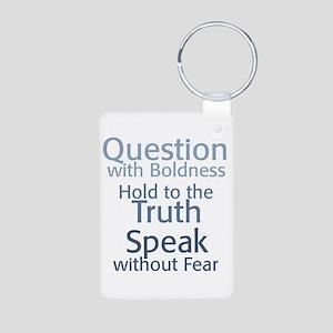 Question Speak Truth Aluminum Photo Keychain