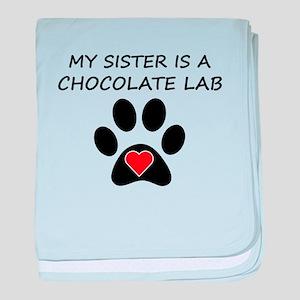 Chocolate Lab Sister baby blanket