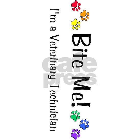 Bite Me I'm a Vet Tech - multi pawprints, rotated