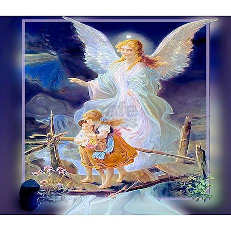 Guardian Angel With Children Crossing Bridge Oval By Amelianangels