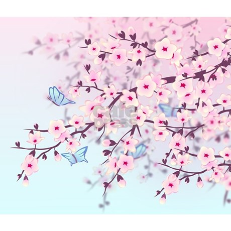 Cherry Blossom With Erfly Wall Tapestry Favorite