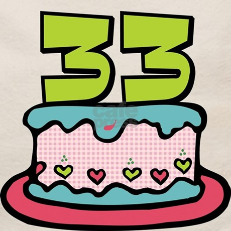 33 Year Old Birthday Cake Tote Bag Front Design Back