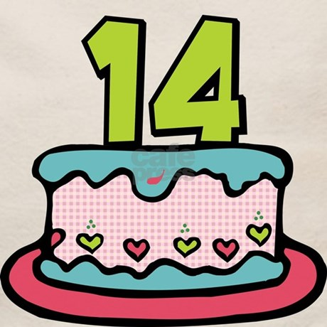 14 Year Old Birthday Cake Tote Bag Front Design