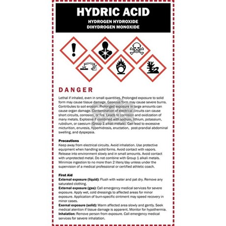 hydric acid dhmo warning lab sticker rectangle by listing store