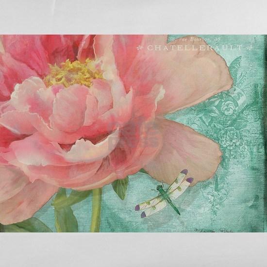 Fleurs - Peony Garden Flower w Dragonfly