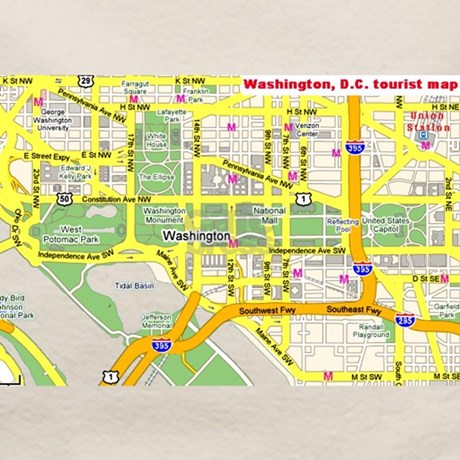 Washington DC tourist map Tote Bag by dctouristmap