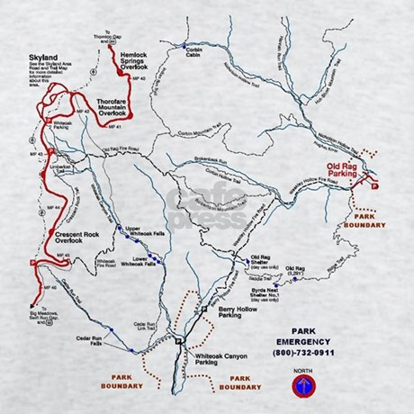 Old Rag Mountain Trail Map Light TShirt Old Rag Mountain Trail Map - Old rag map