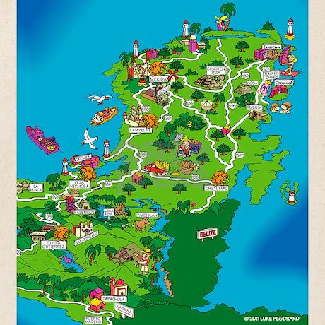 Mexico City to Yucatan Cartoon Fun Map tote bag by mexmap